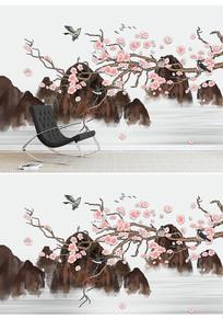 中国风水墨花鸟画电视背景墙