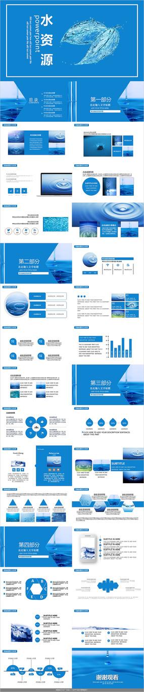 蓝色水资源PPT模板