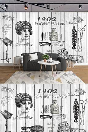 手绘风理发店发廊工具背景墙