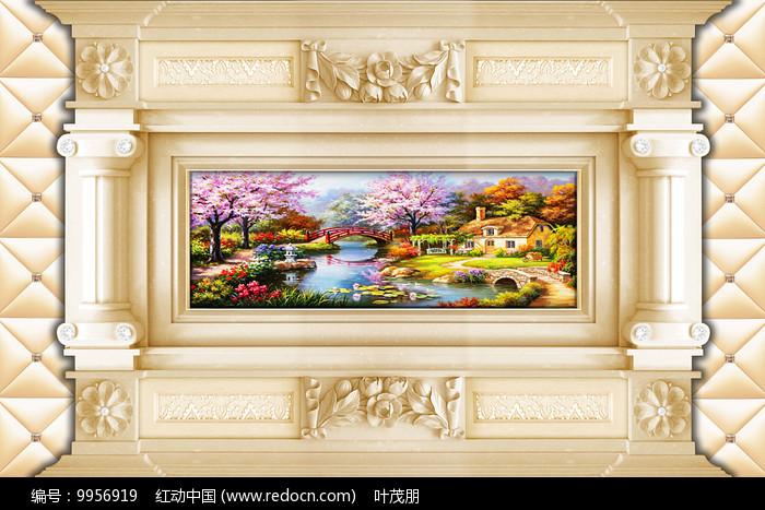 3D立体欧式抽象油画背景墙图片
