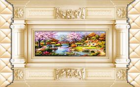 3D立体欧式抽象油画背景墙