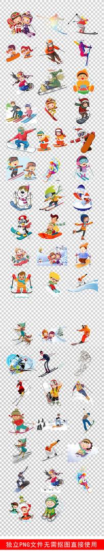 冬季运动会滑雪体育运动素材
