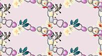 粉色锁扣花朵重复图案