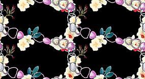 锁扣花朵重复图案