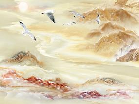 中式抽象意境大理石电视背景墙