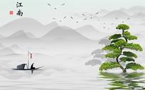 中式意境禅意江南背景墙