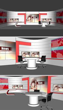 直播室演播室舞台草图SU模型