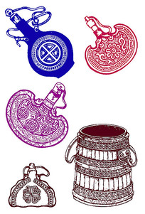 传统酒壶花纹酒杯茶壶纹样