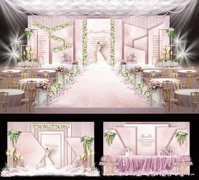 浪漫粉色婚礼背景展板