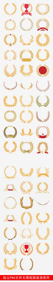 麦穗边框装饰金色徽章盾牌素材