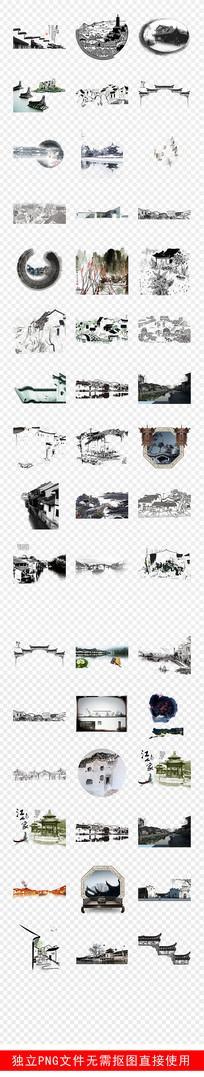 江南水乡古建筑建筑水墨素材