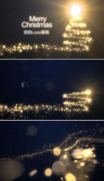 金色粒子圣诞节新年片头模板