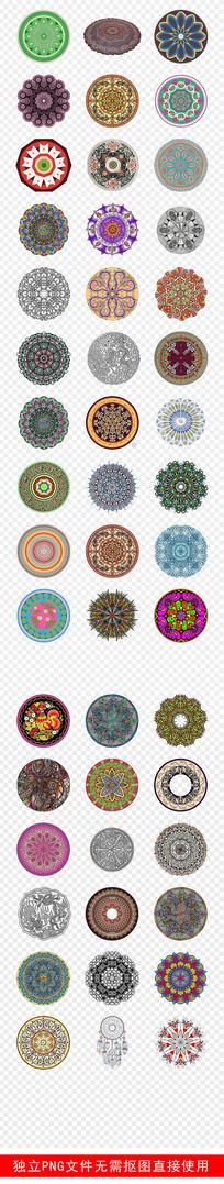 民族风圆形复古花纹图案素材