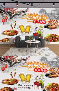 中国风手绘墙撸串烧烤背景墙