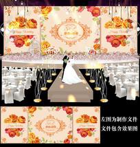 橘黄色花卉婚礼舞台背景设计