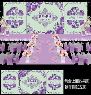 紫色水彩花卉婚礼甜品台设计