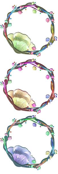 水彩手绘花卉花环边框图案