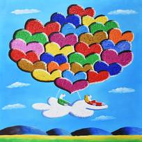 高清手绘卡通气球飞机油画图
