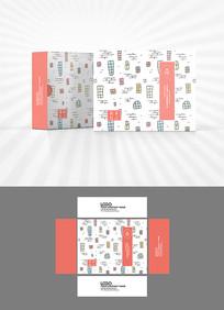 卡通背景包装盒设计AI矢量