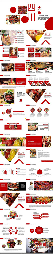 中国传统美火锅美食PPT