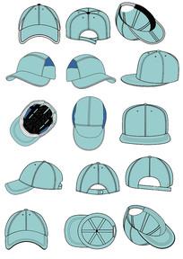 棒球帽款式图设计矢量图