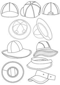 服装配件帽子款式图矢量图