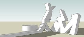 抽象字母艺术品雕塑SU模型
