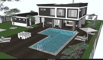 度假别墅泳池模型