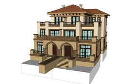 乡村欧式别墅模型