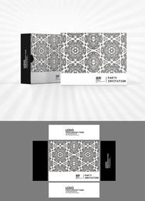 黑白底纹包装盒设计AI