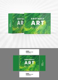 绿色油画背景包装盒设计