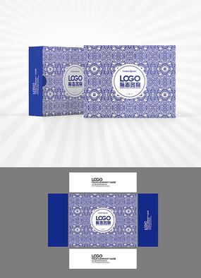 矢量花纹图案背景包装盒设计