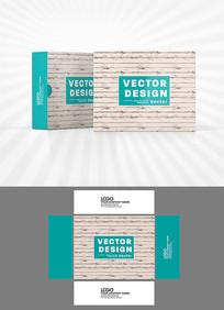 矢量木板底纹包装盒设计