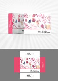 森系花朵底纹包装盒设计