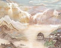 烟雨江南大理石背景墙