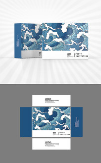 中国风海浪底纹包装盒设计
