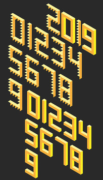 卡通立体数字字体设计