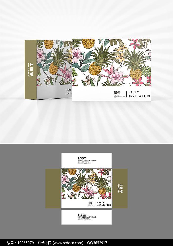 森系凤梨花朵背景包装设计
