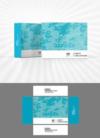 中式海浪花纹包装盒设计