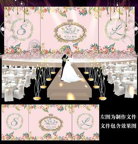 粉色花卉婚礼迎宾舞台背景