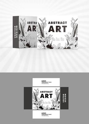黑白矢量植物图案包装盒设计
