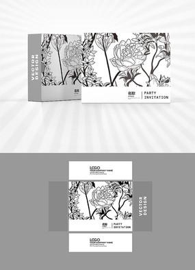 花朵白描图案包装盒设计