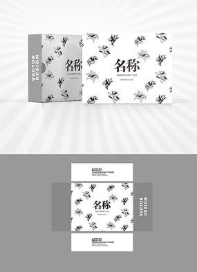 花朵线稿包装盒设计