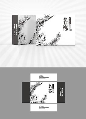 矢量植物图案单色包装盒设计