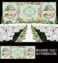 水彩花卉田园风森系婚礼背景