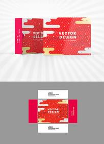 红色祥云包装盒设计