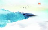 手绘油画意境山水画