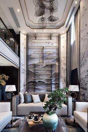新中式风格的客厅背景墙