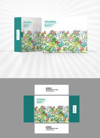 水彩植物背景包装盒设计
