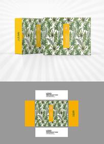 树叶背景包装盒设计